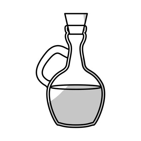 silhouette of bottle of olive oil icon over white background. vector illustration