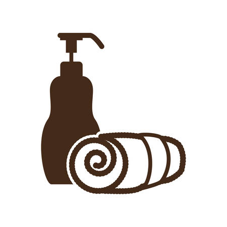 pampering: lotion dispenser spa related icon image vector illustration design