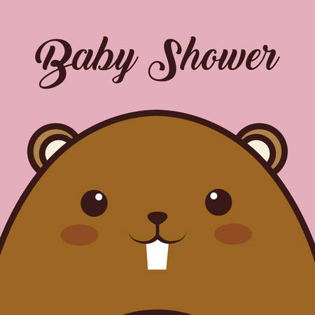 baby shower card with  beaver animal icon over pink background. colorful design. vector illustration