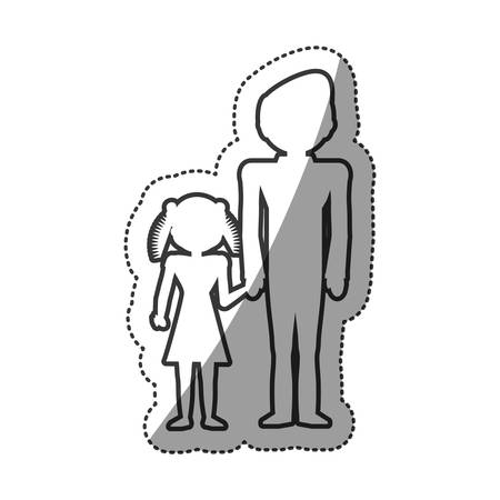 equal opportunity: outlined people family unity vector illustration eps 10