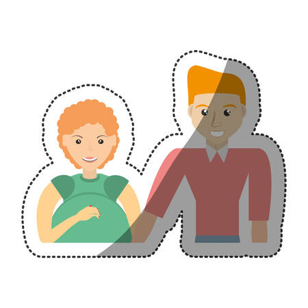 interracial: family pregnant unity people vector illustration eps 10