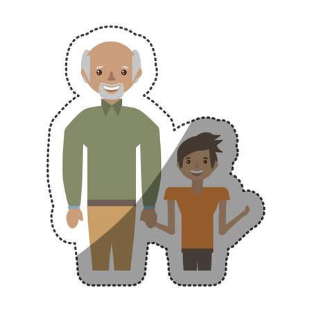 grandad: grandfather and grandson together vector illustration eps 10