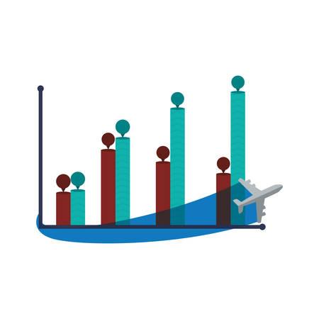 jets: Aviation statistics infographic icon vector illustration graphic design