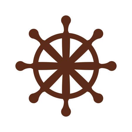 Wooden rudder wheel icon vector illustration graphic design. Illustration