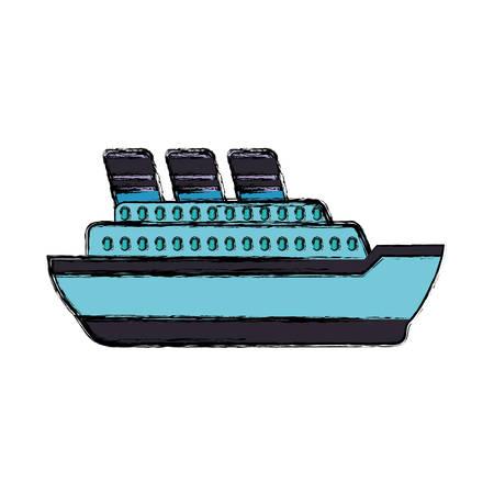 caribbean cruise: Big ship cruise icon vector illustration graphic design.
