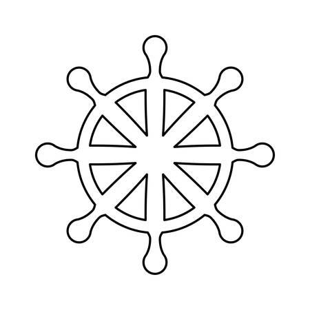 Wooden rudder wheel icon vector illustration graphic design Illustration