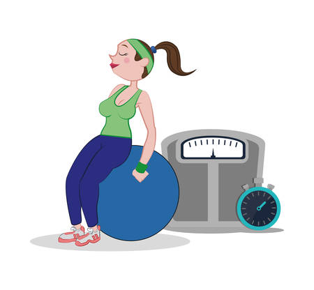 fitness woman fitball weight scale and stopwatch vector illustration eps 10