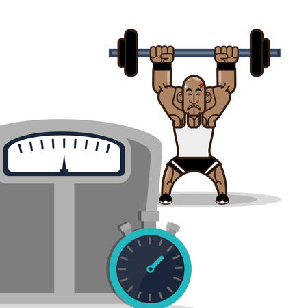 bodybuilder fitness male weight scale and stopwatch vector illustration