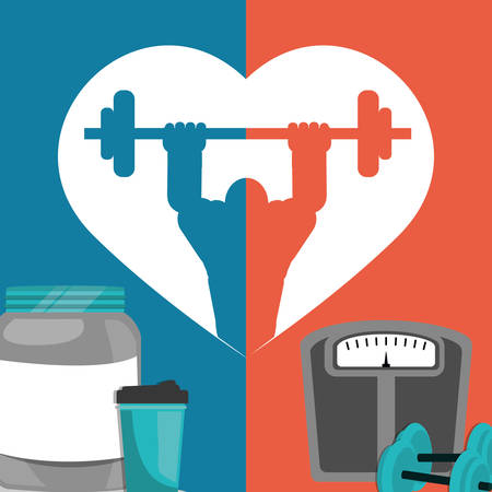 gym poster weight protein food poster vector illustration