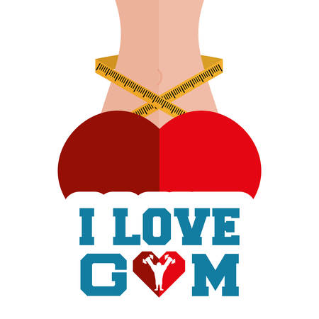 lose: i love gym heart body lose weight vector illustration eps 10 Illustration
