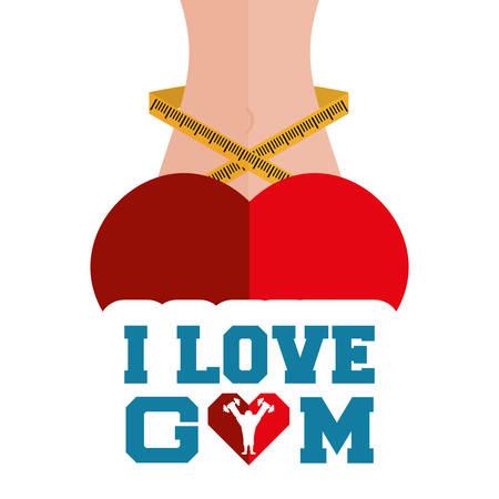 i love gym heart body lose weight vector illustration eps 10 Illustration