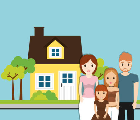 family home with tree garden image vector illustration eps 10