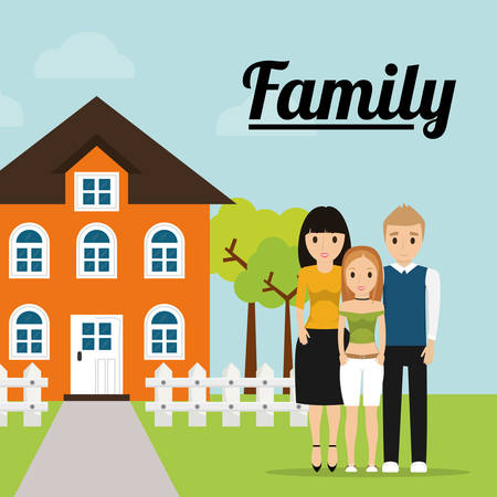 family home tree fence image vector illustration eps 10 Illustration