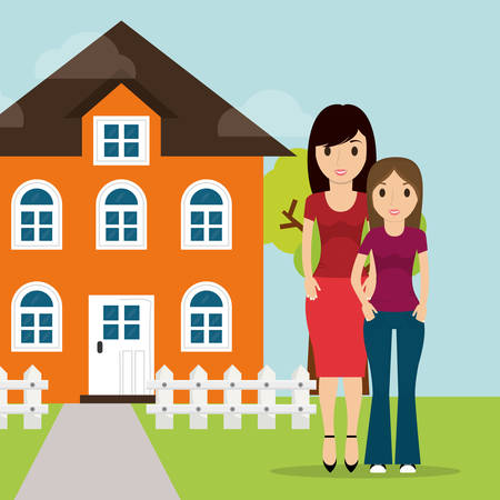 traders: mother daughter facade house tree and fence vector illustration eps 10