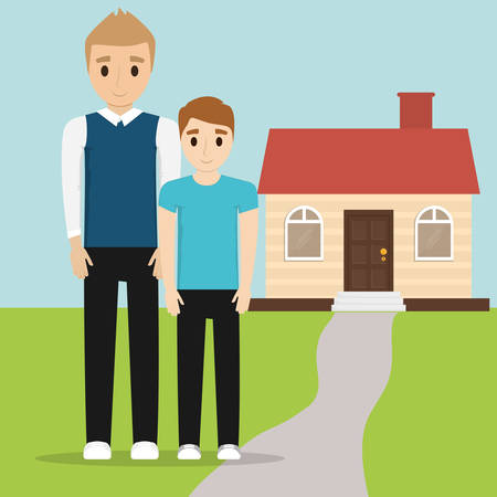 father and son together with home vector illustration eps 10