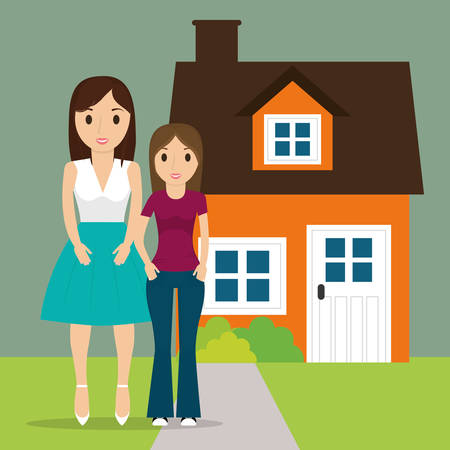 newyear: mom with teenage daughter new house vector illustration eps 10