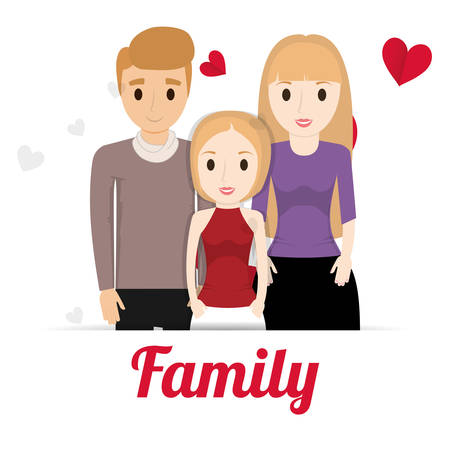 lovely family poster together vector illustration eps 10