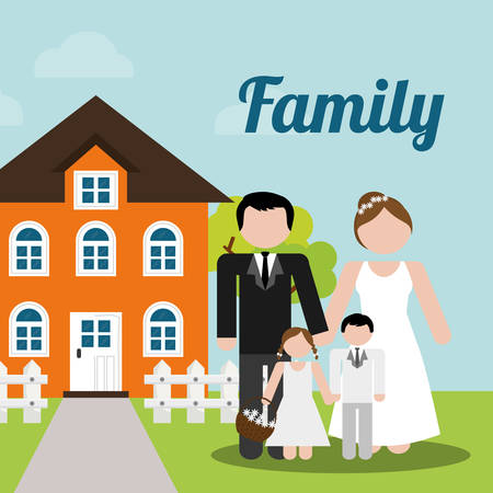 realestate: family home wedding new house image vector illustration eps 10 Illustration