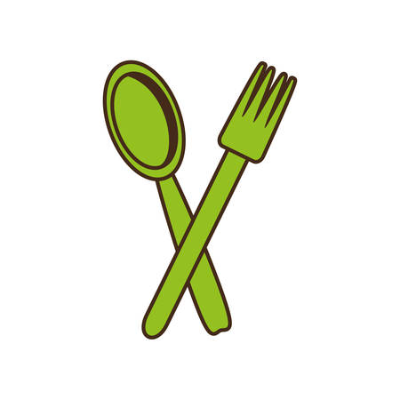 spoon fork cutlery kitchen cooking image vector illustration eps 10 Illustration