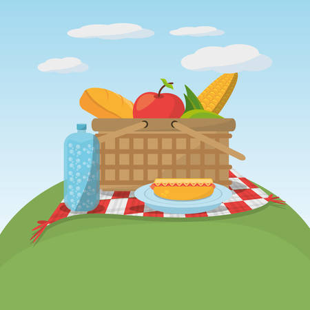 blanket: picnic food basket meaodw blanket vector illustration eps 10 Illustration