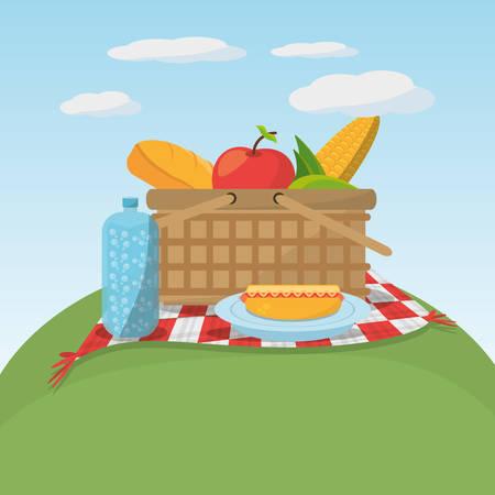 picnic food basket meaodw blanket vector illustration eps 10 Illustration