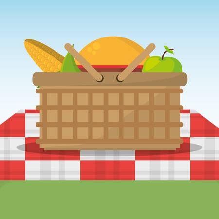 picnic basket full food red and white blanket vector illustration eps 10