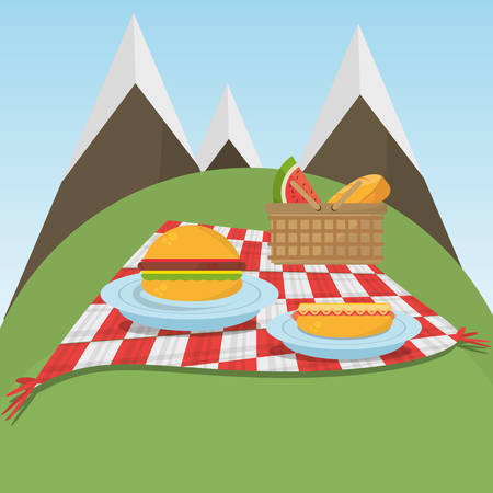 vista: picnic checkered blanket with food and mountains background vector illustration eps 10 Illustration