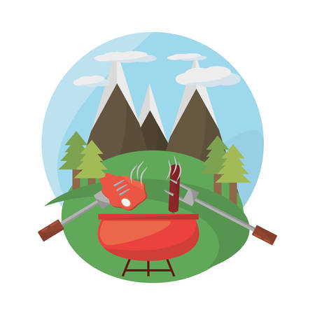 grill bbq meal mountains landscape vector illustration eps 10