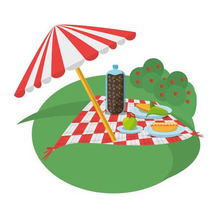 picnic meadow umbrella meal vector illustration eps 10