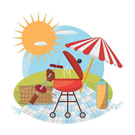 picnic grill umbrella basket food sunny vector illustration eps 10