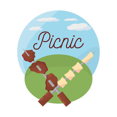 picnic grilled meal delicious vector illustration eps 10