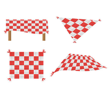 set blanket picnic tablecloth image vector illustration eps 10