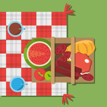 picnic basket food red and white blanket top view vector illustration eps 10