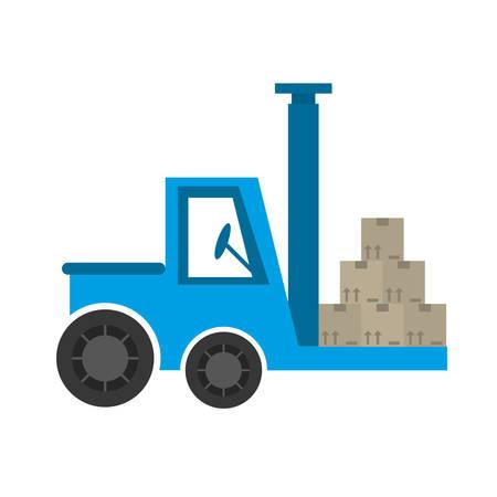 stockpile: delivery forklift boxes work vector illustration eps 10
