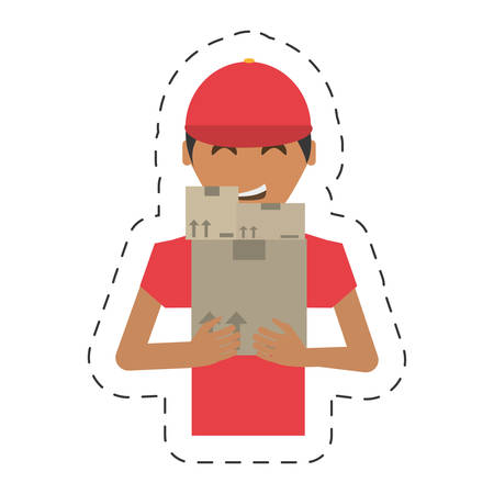 delivery man package working Illustration