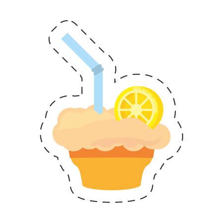 milk shake orange juice straw cut line vector illustraiton eps 10