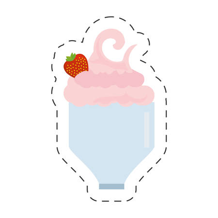 glass cup milk shake delicious cut line vector illustration eps 10