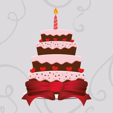 sweet cake birthday wrapped ribbon heart vector illustration eps 10 Illustration