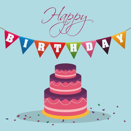happy birthday cake pennant decoration confetti vector illustration eps 10
