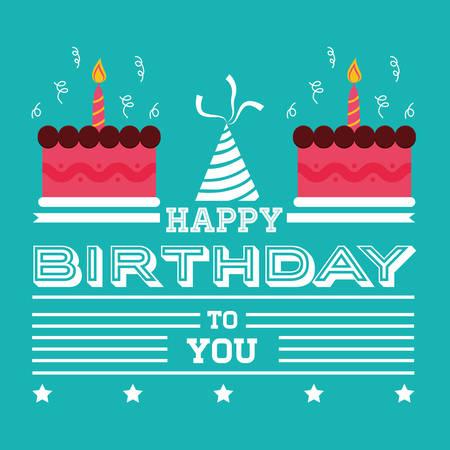 Happy Birthday Card Invitation Cakes Hat Green Background Vector