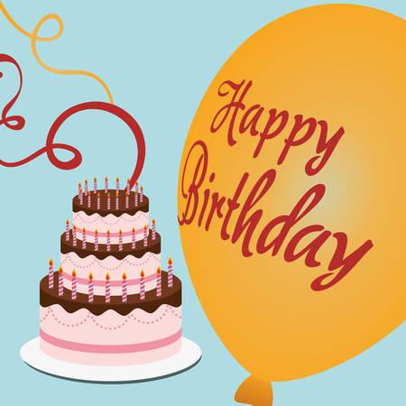 Happy Birthday Cake Pennant Decoration Confetti Vector Illustration