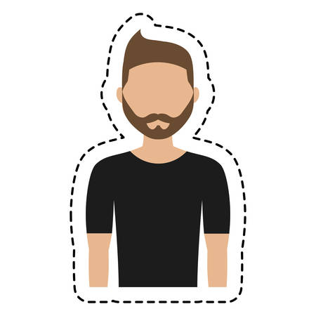 man wearing black t shirt,  cartoon icon over white background. colorful design. vector illustration