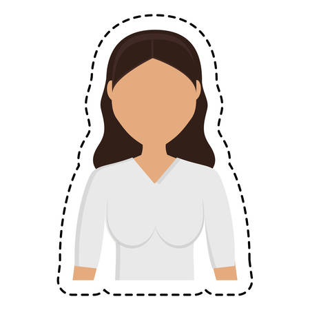 woman wearing casual clothes, cartoon icon over white background. colorful design. vector illustration
