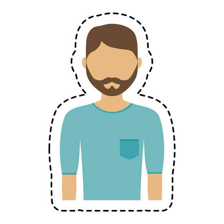 man wearing blue t shirt,  cartoon icon over white background. colorful design. vector illustration