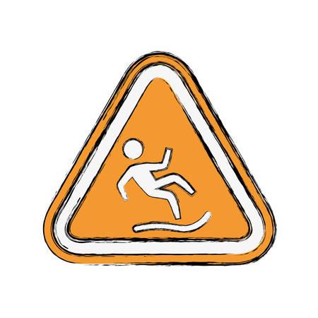 wet floor sign: Wet floor sign icon vector illustration graphic design