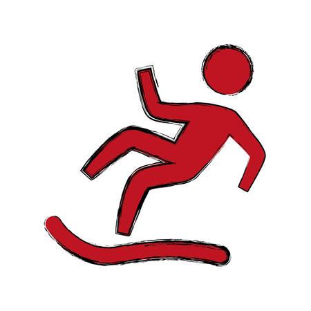 Wet floor sign icon vector illustration graphic design