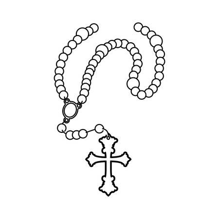 Rosary catholic faith icon vector illustration graphic design Illustration