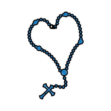Rozenkrans katholiek geloof pictogram vector illustratie grafisch ontwerp Stock Illustratie