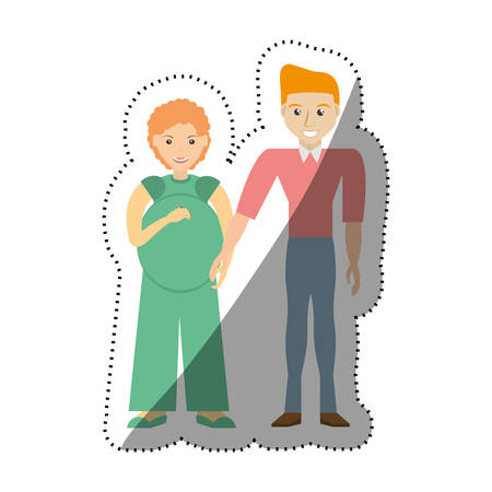 people couple pregnant family image vector illustration eps 10 Illustration