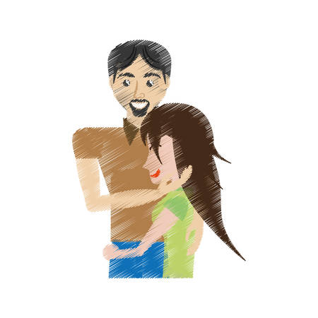 fondle: drawing couple caressing romantic vector illustration eps 10